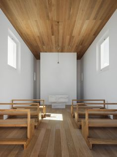 White walls framed by tongue-in-groove ceiling and floors…stunning. Torre de palma hotel in portugal Religious Architecture, Art And Architecture, Wine Hotel, Hotel Portugal, Church Design, Kirchen, White Walls, Frames On Wall, Interior Inspiration