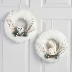 Bring wintertime whimsy to your decor with our glamorous, glittering wreaths. Rings of white faux fur accented with real twigs and pinecones make posh perches for two handcrafted creatures: a natural fiber rabbit and a snowy Cheap Diy Winter I Owl Wreaths, Christmas Mesh Wreaths, Christmas Decorations, Winter Wreaths, Yarn Wreaths, Floral Wreaths, Burlap Wreaths, Spring Wreaths, Summer Wreath
