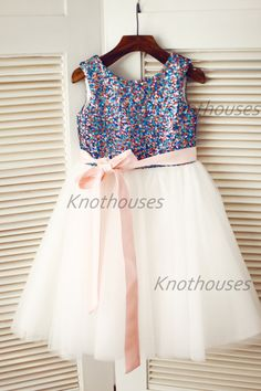 Sequin Ivory Tulle Flower Girl Dress Blush Pink Navy by knothouses