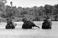 South Vietnamese soldiers ride elephants across a river in the Ba Don area, about 20 miles from the Cambodian border, during a patrol in search of Viet Cong guerrillas in June 1964.