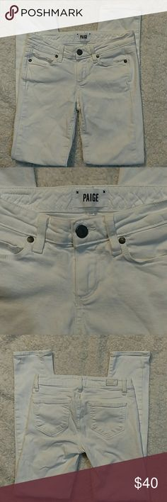 **SALE!** Paige Skyline Ankle Peg Jeans A mid rise peg in optic white, these Paige Denim jeans are slim fitting with an ankle inseam for an overall flattering fit. Good condition. Inseam is 27.5 in. and rise is 8 in. PAIGE Jeans Ankle & Cropped