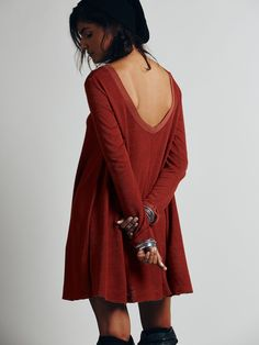 Free People Long Sleeve Swing Dress, $88.00 in brick. GORGEOUS
