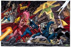 Los Vengadores VS El Conde Nefaria por John Byrne. Homenaje a dicho enfrentamiento que tuvo lugar en The Avengers Vol 1 #165-166. Los cuales fueron dibujados por el citado Byrne.
