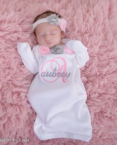 Baby shower gift girl sleeper personalized baby girl newborn baby baby girl clothes coming home outfit baby girls clothing gown with mitten cuffs hat or headband personalized monogram newborn infant gift negle Choice Image