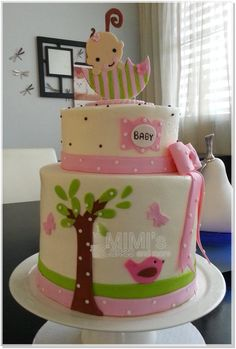 Tall Baby Shower Cake - Tall Baby Shower Cake in BC with little bird and baby girl in umbrella