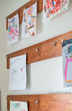 Children S Art Displayed With Ikea Curtain Rods Craft