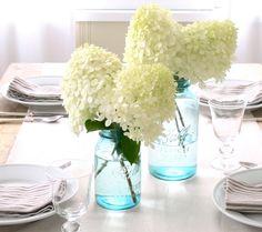 hydrangea centerpieces: so simple but so beautiful!