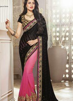 Sparkling Black & Pink Embroidered Half And Half Saree