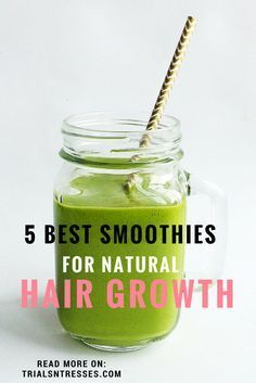 Hair Remedies Best Smoothies For Natural Hair Growth I really like the idea behind the Sweet Potato one! - Natural Hair growth is based on a lot of things and what you eat is at the top of the list. Here are the 5 best smoothies for natural hair growth. How To Grow Natural Hair, Natural Hair Tips, Natural Hair Styles, How To Regrow Hair, Best Natural Hair Products, Natural Things, Natural Hair Journey, Natural Oils, Natural Skin