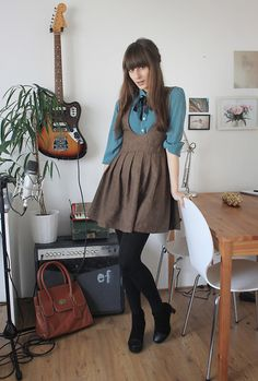 Two orders of business here. First: Love the dress and the scarf combo. I would wear that every day to work. Second: I want that guitar.