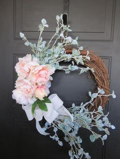 Spring Wreath for Front Door, Wreath for Front Door, Spring Blossoms, Pink Wreath, Cherry Blossoms Wreath, Large Wreath, Easter Wreath