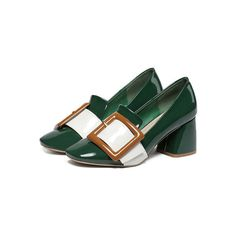 SheIn(sheinside) Green Square Toe Buckle Chunky Heel Pumps ($34) ❤ liked on Polyvore featuring shoes, pumps, green, thick-heel pumps, dorsay pump, chunky heel platform shoes, platform pumps and chunky heel shoes