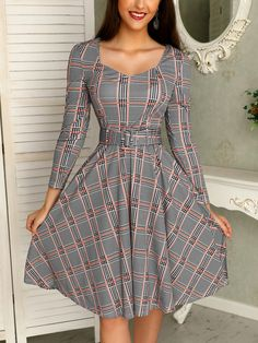 Shop Grid Self Belted Pocket Pleated Casual Dress right now, get great deals at Joyshoetique. Dresses For Teens, Modest Dresses, Casual Dresses For Women, Cute Dresses, Dresses For Work, Summer Dresses, Clothes For Women, Casual Cocktail Dress, Dress Casual