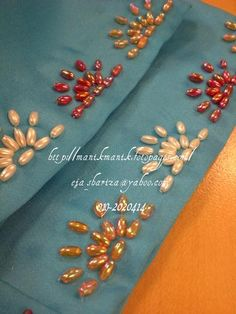 Crystal Embroidery, Bead Embroidery Patterns, Tambour Embroidery, Embroidery Needles, Ribbon Embroidery, Beading Patterns, Bordados Tambour, Embroidery On Kurtis, Bead Sewing