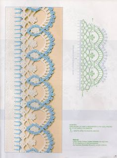 Check out the diagrams and learn to make more than 150 points, (crochet edgings) with images. There are several crochet borders that can be applied in various crochet projects. This post was discovered by HU Eliana Painting and Crochet: Crochet nozzles wi Crochet Border Patterns, Crochet Boarders, Crochet Lace Edging, Crochet Motifs, Crochet Diagram, Lace Patterns, Crochet Chart, Thread Crochet, Crochet Designs
