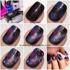 galaxy nails step by step - Google Search