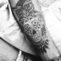 Owl sugar skull forearm tattoo