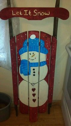 Christmas Sled, Christmas Signs, Rustic Christmas, Christmas Projects, Christmas Decorations, Christmas Items, Xmas, Snowman Crafts, Halloween Crafts