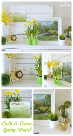 Gold and Green Spring Mantel at The Happy Housie #mantel #springdecorating