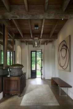 Modern and rustic. Could be a really cool basement idea for those with low ceilings