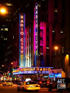 Radio City Music Hall and Yellow Cab by Night, Times Square, NYC
