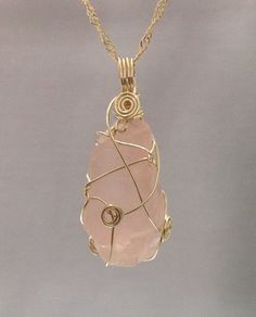 Natural Rose Quartz  Wire wrapped  Pendant made by OritWhiteLight