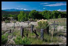 Woden crosses, cemetery, Picuris Pueblo. New Mexico, USA