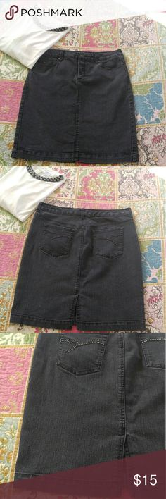 """Gloria Vanderbilt Black Jean Skirt Black Denim ~ Three pockets in front, Two in back ~ 20.25"""" long laying flat ~ 17"""" waist laying flat ~ 20"""" hips laying flat ~ 5"""" split in back ~ Has little jewels on back pockets, some are missing as seen in picture but not noticeable when wearing 75% Cotton 24% Polyester 1% Spandex Gloria Vanderbilt Skirts Pencil"""