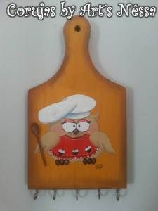 Porta chaves tábua carne coruja cozinheira com colher 1