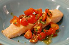 Salmon with tomato basil relish.  Delish & easy! elanaspantry.com is an amazing gluten free website, great options for SCD & Paleo.