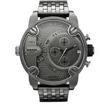 Diesel Little Daddy Only The Brave men's grey stainless steel watch. Little Daddy steals the scene this season with this gunmetal-plated update to the collection. Men's Watches, Luxury Watches, Black Watches, Daddy, Momo Design, Diesel Watches For Men, Grey Watch, Watch Sale, Stainless Steel Bracelet