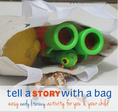 Story Telling Preschool Activity - Easy, Fun & Inexpensive.let your child choose everyday objects and make stories together. Preschool Literacy, Early Literacy, Literacy Activities, Activities For Kids, Preschool Books, Preschool Ideas, Craft Ideas, Montessori, Speech And Language