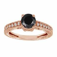 Fancy Black Diamond Engagement Ring 14k Rose Gold Vintage Antique Style 0.65 Carat Certified Pave Set Handmade