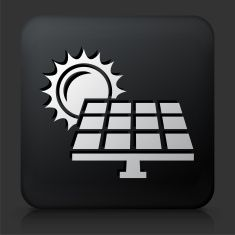 Black Square Button with Solar Panel vector art illustration