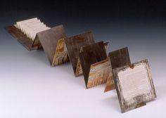 "Field Trip by Karen Kunc.  2002  bookwork: offset litho & letterpress  6 x 6"" (94 x 6"" unfolded)  poem by T. Hansen"