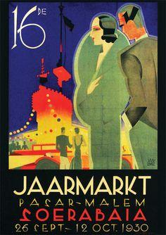 Jaarmarkt Pasar-Malem Soerabaia (Jan Lavies) Advertising in the Dutch East-Indies (Nederlands-Indië). A reminder of the Tempo Doeloe.