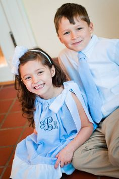 Brother Sister Set Pillowcase Dress and Tie Seersucker Gingham Monogram Easter Boy Girl Baby Toddler. $48.00, via Etsy.