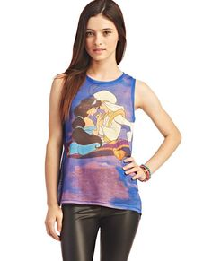 Colorful and fun, this muscle tank top shows Aladdin and Princess Jasmine on their magic carpet ride