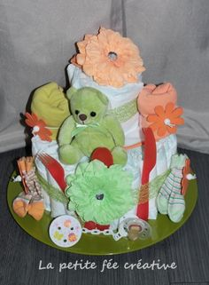 Blog de lapetitefeecreative :La petite fée créative ( 100% Main), GATEAU DE COUCHE FILLE vert et orange