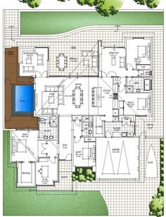 Hillarys_Modern_House_Design_With_High_Raking_Ceilings_And_Open_Living_Areas. I love the reading room. Will absolutely build a library there. Bedroom House Plans, Dream House Plans, House Floor Plans, My Dream Home, The Plan, How To Plan, Modern House Design, Home Design, Open Living Area