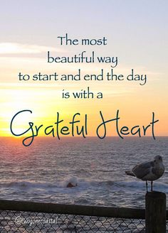 The most beautiful way to start and end the day is with a grateful heart.