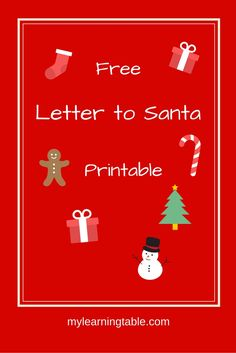 Letter to Santa Free Printable Activity mylearningtable.com