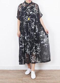 40b04b3e9922b8 Women black silk dresses Boho Sleeve short sleeve Maxi summer Dresses