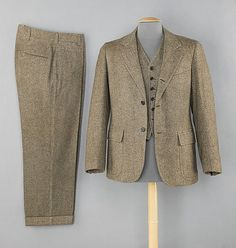 Brooks Brothers men's suit, 1955.  This is an example of the three-piece suit popular in the 1950s, a style Brooks Brothers became known for.
