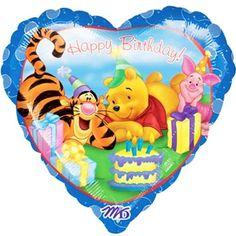 "18"" Happy Birthday Heart Shaped Pooh and Friends Balloon"
