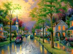 Thomas Kinkade HOMETOWN MORNING painting is shipped worldwide,including stretched canvas and framed art.This Thomas Kinkade HOMETOWN MORNING painting is available at custom size. Thomas Kinkade Art, Kinkade Paintings, Thomas Kincaid, Art Thomas, Gifs, Beautiful Paintings, Pretty Pictures, Car Pictures, Love Art