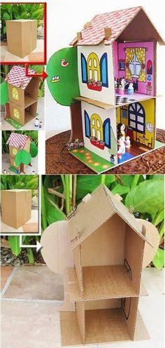 Make a cute little cool house using a cardboard box
