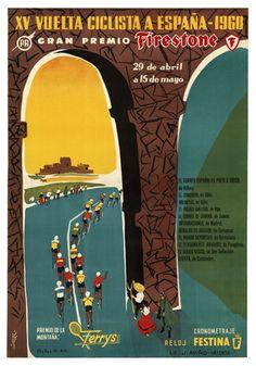 Vuelta Ciclista a Espana 1960 Vintage Cycling Event Poster Reprint - The Horton Collection, VeloGear