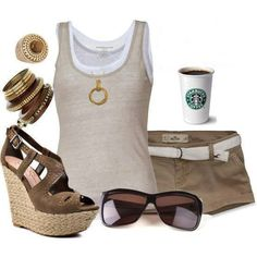 I love this look for summer.  I like the layered tanks but I can't wear shorts that short or heels that high (toddler)