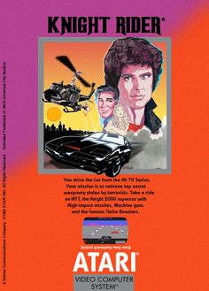 This must have been a pretty crap video game. First of all it's an Atari game, Second of all it's Knight Rider. THE VIDEO GAME! Vintage Video Games, Classic Video Games, Retro Video Games, Vintage Games, Retro Games, 80 Tv Shows, Pc Engine, Video Game Music, Nintendo